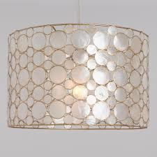 How To Make A Drum Pendant Light White Capiz And Gold Mariana Drum Pendant Lamp By World