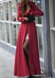 red plain full length turndown collar wool blend slim military long trench coat
