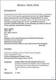 Curriculum Vitae Personnel Free Samples Of Resume Sample Template