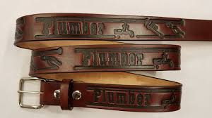 plumber embossed leather belt is made in the usa all handmade perfect gift for
