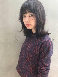 田中 ミディアム ウルフ ナチュラルブラック 透明感カラー アッシュ