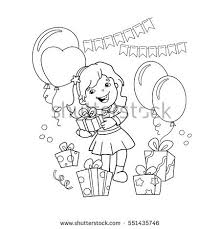 Small Picture Coloring Page Outline Cartoon Girl Gift Stock Vector 551435746