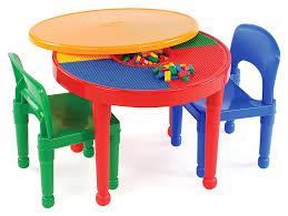 tot tutors kids 2 in 1 plastic lego compatible activity table and 2 chairs set primary colors com