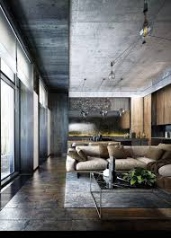 Image Ivchic Concreteflooring Living Room Design Pinterest Industrial Style Modern Bachelor Apartment Design Ideas