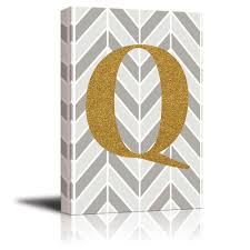Wall26 - The letter Q in gold leaf effect on geometric background - Modern  Hip Young Art Decor - Canvas Art Home Decor - 12x18 inches