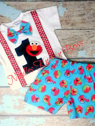 Boys Elmo Birthday Outfit First Birthday Outfit Cake Smash Outfit