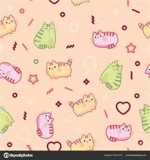animal print pattern cute kawaii style cat kitten kitty on light background stock