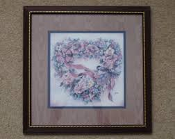 >vintage home interiors and gifts homco chickadee and flowers vintage 1990s homco home interiors and gifts chickadee and flowers heart wreath matted and framed wall art by leisha