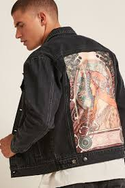 alphonse mucha graphic denim jacket