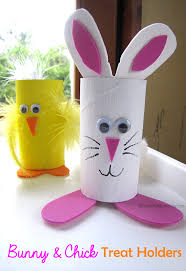 bunny easter treat holder from cardboard s tp rolls