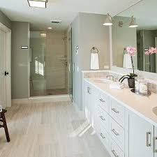 White Master bathroom with Gray Concrete Tile Floor Transitional