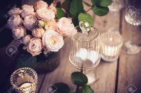 Elegant decorations wedding table lights Rustic Wedding Elegant Vintage Wedding Table Decoration With Roses And Candles Warm Night Light Filter Stock Photo 123rfcom Elegant Vintage Wedding Table Decoration With Roses And Candles