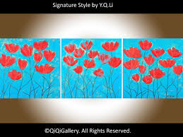 Acrylic turquoise Red flower painting wall art canvas art Heavy Texture  Palette Knife original art
