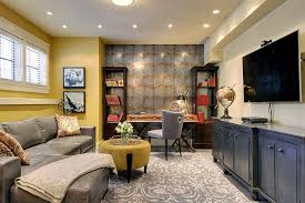 decorate home office. Gorgeous And Well Decorated Home Office In The Basement Design Decorate