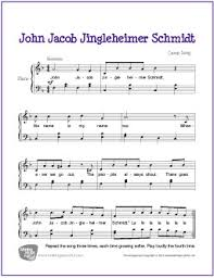 sheet music for kids john jacob jingleheimer schmidt free easy piano sheet music