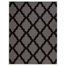 ottomanson glamour collection contemporary moroccan trellis dark gray 8 ft x 10 ft area