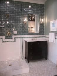 copy this with grey glass subway on accent wall white ceramic penny glass accent tiles