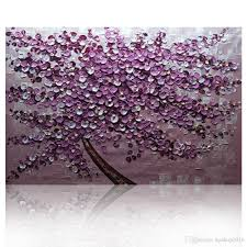2018 kg purple tree textured knife paintings abstract wall painting impasto acrylic handmade canvas maple leaves art oil painting home decoration from
