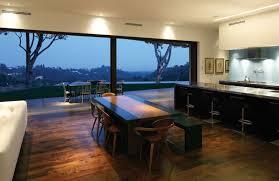 simple mandeville canyon residence for a stunning view dark brown laminate flooring kitchen backsplash light