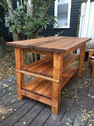 rustic kitchen island table. Furniture Ideas Simple Carpenter Made Rectangular Open Shelving Butcher Block Rustic Kitchen Island Outdoor Deck Views Imposing In Table S