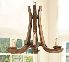 handcrafted from sustainable wood wine barrel chandelier from pottery barn