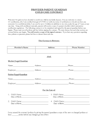 Daycare Contract Template Free Babysitting Forms For Parents To Fill Out Fill Online