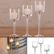 Image Tall Image Is Loading Setof3eleganttealightglasscandle Ebay Set Of Elegant Tea Light Glass Candle Holders Wedding Table