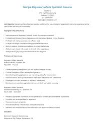 Sample Regulatory Affairs Specialist Resume In 2019