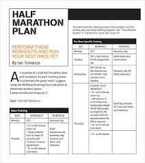 Sample Half Marathon Pace Chart 5 Documents In Pdf