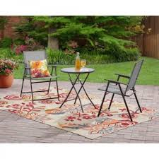 folding 3 piece patio garden bistro set metal pool furniture glass table chairs