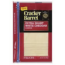 sharp white cheddar. cracker barrel extra sharp white cheddar cheese slices - 11ct e