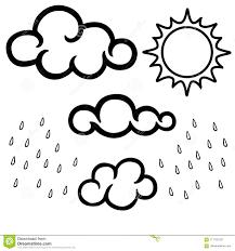 Nuvole Sole E Pioggia Insieme Lineare In Bianco E Nero Libro Da