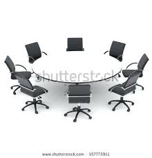 office round table and chairs office chairs and round table isolated render on a white background