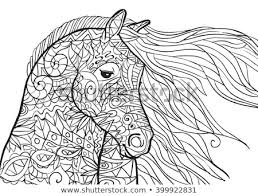 Hand Drawn Coloring Pages Horses Head Stock Vector Royalty Free