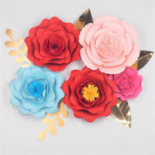 Paper Flower Suppliers 2018 Diy Paper Flowers Backdrop Half Made Large Flower 5pcs Leaves 5pcs Wedding Event Deco Baby Nursery Decorations Mix Sizes