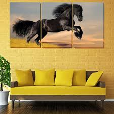 unframed black horse on the grass r modern painting canvas wall art picture home decor living