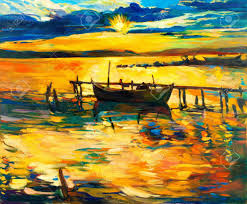 original oil painting of boat and jetty pier on canvas sunset over ocean