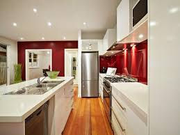 Astounding Design Of The Galley Kitchen Ideas With Young Brown Wooden Floor  Added With White Kitchen