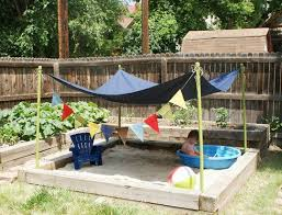Great idea to put a tarp / umbrella / wind sail above sand box to keep kids  from getting too much sun ~ sandbox ~ pool ~ kids ~ outdoor living ~  outdoor ...