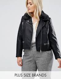 women s lost ink plus leather look jacket with faux fur collar m77o3