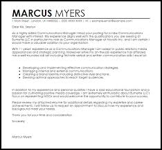 Communications Manager Cover Letter Sample Cover Letter Templates