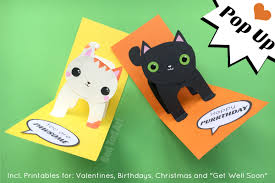 3d pop up cards easy cat card with templates