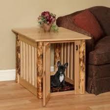 furniture pet crates. Amish Made Log Wood Dog Crate End Table Furniture Pet Crates