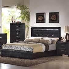 Contemporary Design Black Bedroom Set Queen Affordable Black