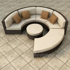 circular furniture. circular conversational patio sectional pairs brightly toned thick padded cushioning with dark resin wicker construction furniture