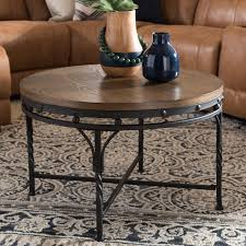 vintage industrial round coffee table austin rc willey furniture