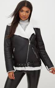 womens clothing coats jackets black contrast faux fur pu aviator jacket hodk7427 est