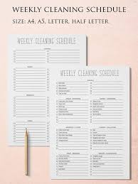 Cleaning Schedule Cleaning Checklist House Cleaning List Household Planner Cleaning Planner