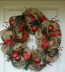 Christmas wreath with red, leopard burlap @Rose Englert what if we strung  burlap and