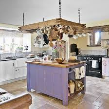 rustic white kitchens. Rustic Kitchen With Ceiling-hung Pan Rack And Purple Island White Kitchens